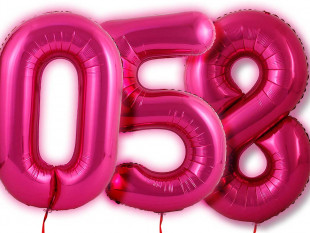 """Pink 34"""" Number Foil Balloon"""