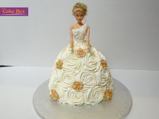 White Dress Doll Kids Cake