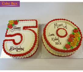Red & Gold Number Cake