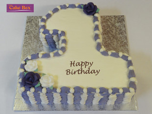 Lilac & White Number Cake