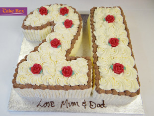 White Flowers Number Cake