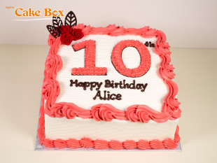 Red Flowers Number Cake