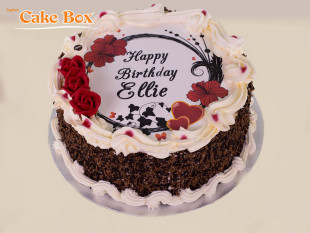 Red Flowers Photo Cake