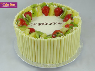 White Chocolate Cigarillo Birthday Cake with Fruits
