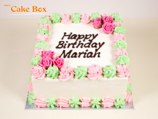 Classic Birthday Cake Pink & Green