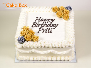 Classic Birthday Cake Gold & Silver Flowers