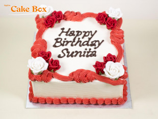 Classic Birthday Cake Red & White Flowers