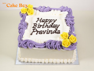 Classic Birthday Cake Purple & Yellow Flowers