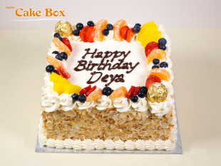 Almond Birthday Cake with Fruits & Hazelnut
