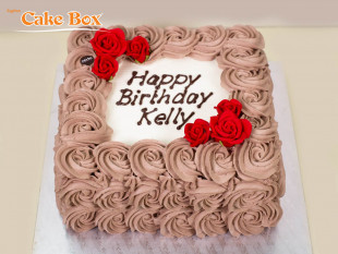Chocolate & Red Flowers Birthday Cake
