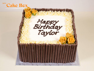 Chocolate Cigarillo Birthday Cake Gold Flowers