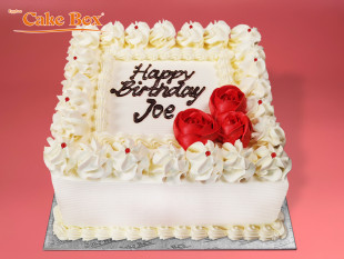 Classic Birthday Cake Red Flowers