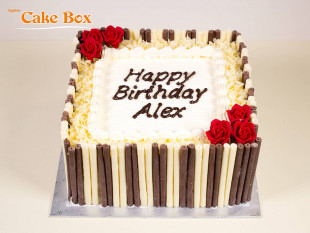 Chocolate Cigarillo Birthday Cake Red Flowers