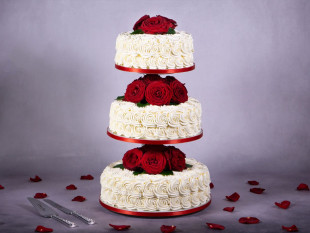 Red Roses 3-tier Wedding Cake 3
